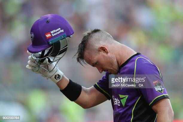 Arcy Short of the Hurricanes looks dejected after been dismissed during the Big Bash League match between the Sydney Thunder and the Hobart...