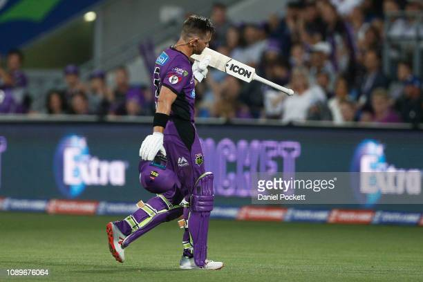 Arcy Short of the Hurricanes reacts to cheering fans as he leaves the field after being dismissed by Sean Abbott of the Sixers during the Big Bash...