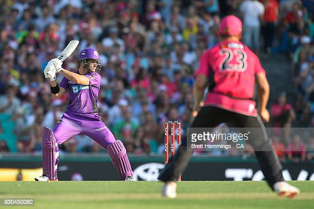 Arcy Short of the Sixers bats during the Big Bash League match between the Sydney Sixers and Hobart Hurricanes at Sydney Cricket Ground on December...