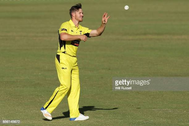 Arcy Short of the Warriors prepares to bowl during the JLT One Day Cup match between Victoria and Western Australia at WACA on October 1 2017 in...