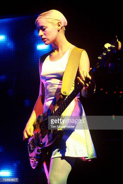 D'arcy Wretzky and the Smashing Pumpkins perform at Lollapalooza 1994 at Shoreline Amphitheatre on August 28 1994 in Mountain View California