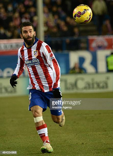 Arda Turan of Atletico Madrid is in action during the La Liga match between Atletico Madrid and Almeira at Vicente Calderon Stadium in Madrid Spain...