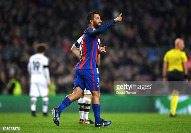 Arda Turan of Barcelona celebrates scoring his sides fourth goal during the UEFA Champions League Group C match between FC Barcelona and VfL Borussia...