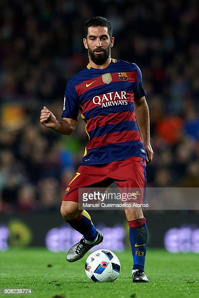 Arda Turan of Barcelona in action during the Copa del Rey Semi Final first leg match between FC Barcelona and Valencia CF at Nou Camp on February 03...