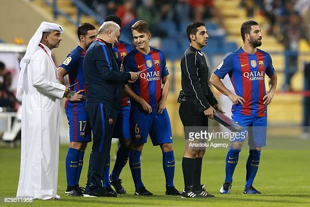 Arda Turan of Barcelona is seen during a friendly soccer match between Al-Ahli Saudi and Barcelona at Al-Gharrafa Stadium in Doha, Qatar on December...