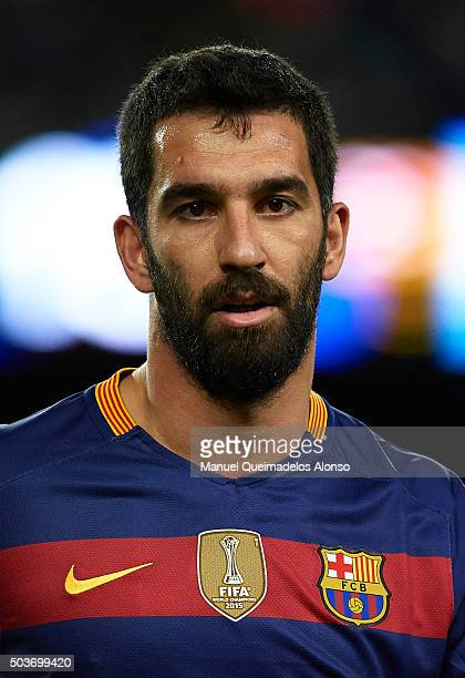 Arda Turan of Barcelona looks on during the Copa del Rey Round of 16 match between FC Barcelona and Real CD Espanyol at Camp Nou on January 6 2016 in...