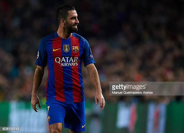 Arda Turan of Barcelona reacts during the UEFA Champions League Group C match between FC Barcelona and VfL Borussia Moenchengladbach at Camp Nou on...