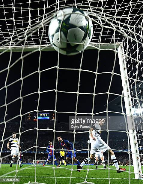 Arda Turan of Barcelona scores his sides second goal during the UEFA Champions League Group C match between FC Barcelona and VfL Borussia...