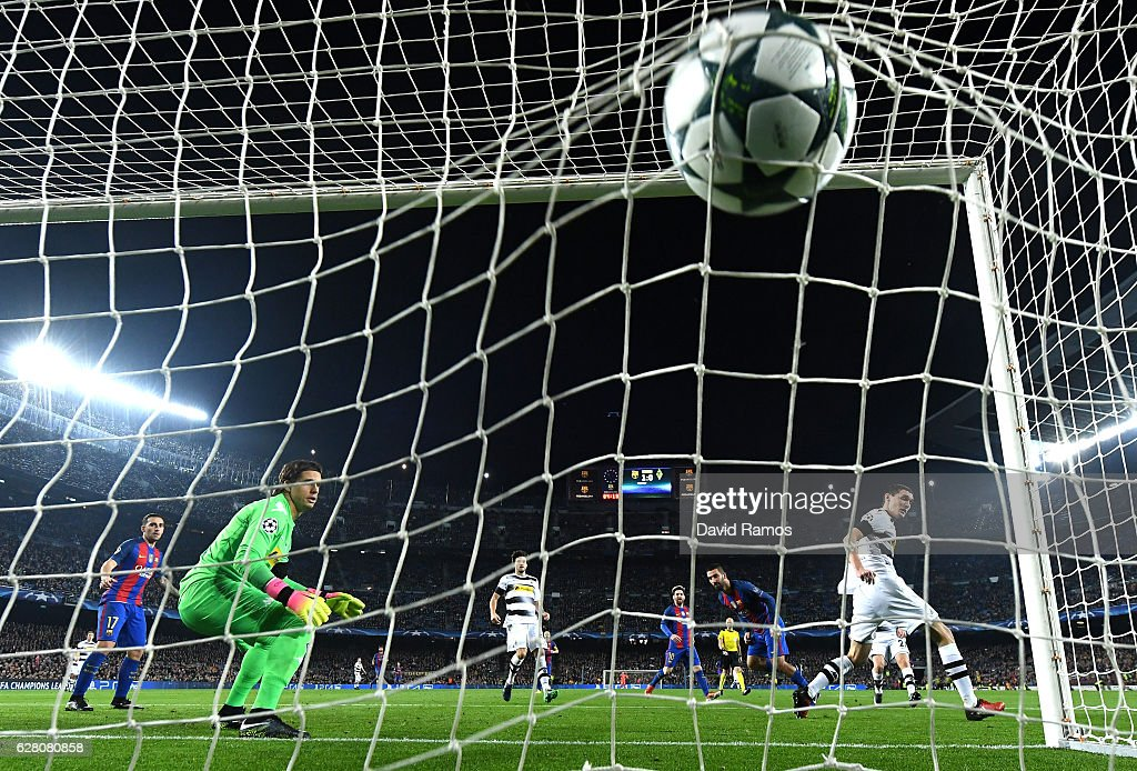 Arda Turan of Barcelona scores his sides second goal during the UEFA Champions League Group C match between FC Barcelona and VfL Borussia Moenchengladbach at Camp Nou on December 6, 2016 in Barcelona, .
