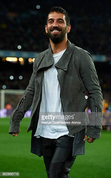 Arda Turan of Barcelona smiles prior to the La Liga match between FC Barcelona and Real Betis Balompie at Camp Nou on December 30 2015 in Barcelona...