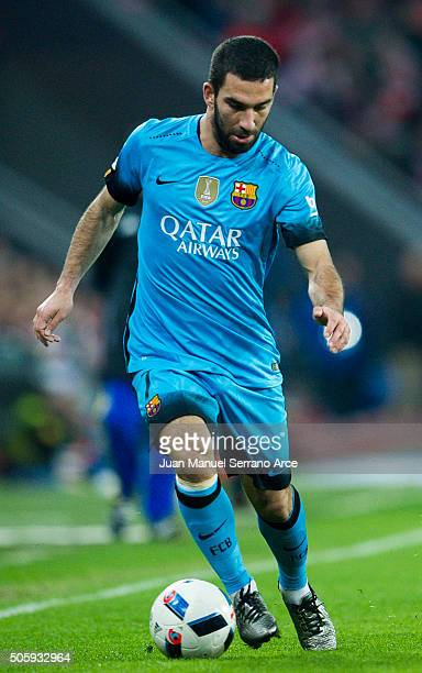 Arda Turan of FC Barcelola controls the ball during the Copa del Rey Quarter Final First Leg match between Athletic Club and FC Barcelola at San...