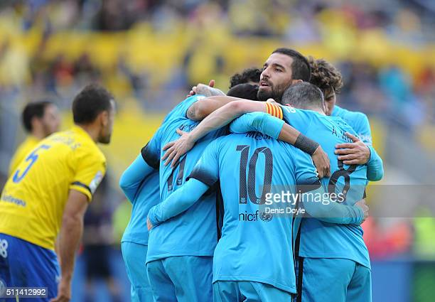 Arda Turan of FC Barcelona celebrates with teammates after Neymar scored Barcelona's 2nd goal during the La Liga match between UD Las Palmas and FC...