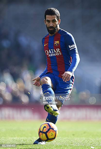 Arda Turan of FC Barcelona in action during La Liga match between Real Betis Balompie and FC Barcelona at Benito Villamarin Stadium on January 29...