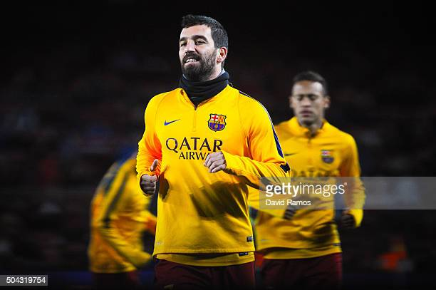 Arda Turan of FC Barcelona in action during the warm up prior to the Copa del Rey Round of 16 first leg match between FC Barcelona and RCD Espanyol...