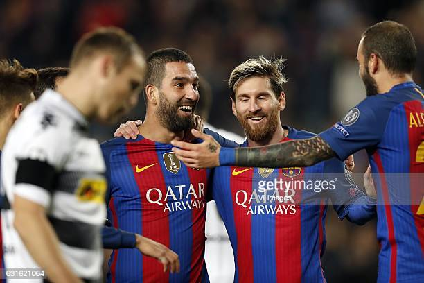 Arda Turan of FC Barcelona Lionel Messi of FC Barcelona Aleix Vidal of FC Barcelonaduring the UEFA Champions League group C match between FC...