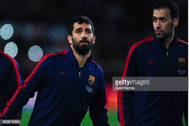 Arda Turan of FC Barcelona looks on prior to the Copa del Rey Round of 16 first leg match between FC Barcelona and RCD Espanyol at Camp Nou on...