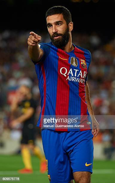 Arda Turan of FC Barcelona reacts during the La Liga match between FC Barcelona and Atletico de Madrid at Camp Nou stadium on September 21 2016 in...