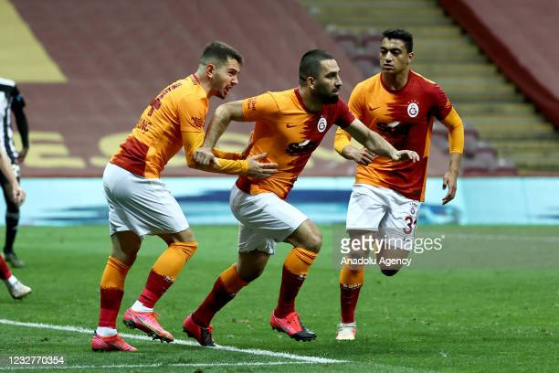 Arda Turan of Galatasaray celebrates after scoring a goal during the Turkish Super Lig week 40 football match between Galatasaray and Besiktas on May...