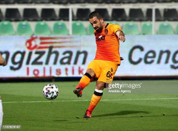 Arda Turan of Galatasaray in action during the Turkish Super Lig week 41 match between Yukatel Denizlispor and Galatasaray at the Ataturk Stadium in...