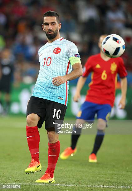 Arda Turan of Turkey in action during the UEFA EURO 2016 Group D match between Spain and Turkey at Allianz Riviera Stadium on June 17 2016 in Nice...
