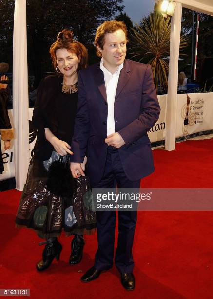 Ardal O'Hanlon and his wife arrive for the The Irish Film and Television Awards at the Burlington Hotel on October 30 2004 in Dublin Ireland