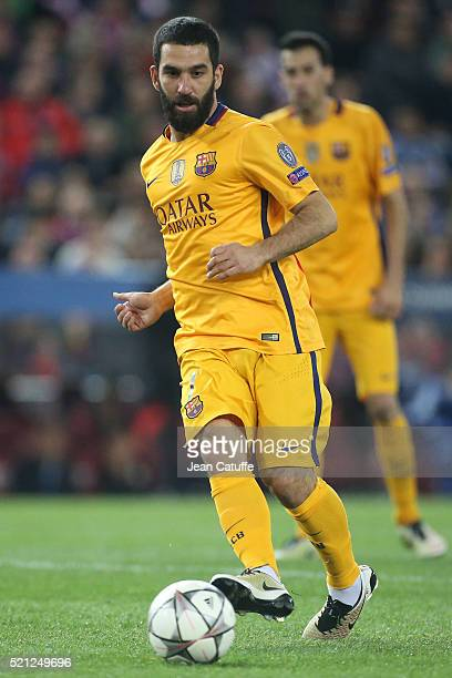 Ardan Turan of Barcelona in action during the UEFA Champions League quarter final second leg match between Atletico Madrid and FC Barcelona at...