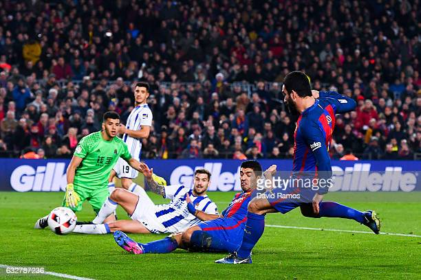 Ardan Turan of FC Barcelona scores his team's fourth goal during the Copa del Rey quarterfinal second leg match between FC Barcelona and Real...
