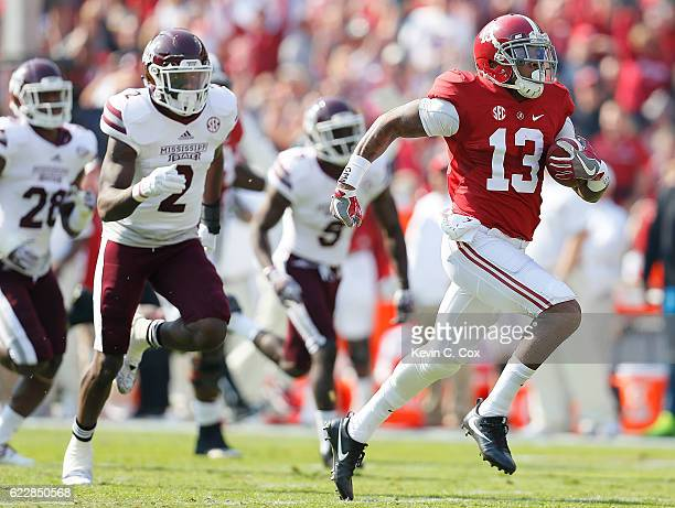 ArDarius Stewart of the Alabama Crimson Tide takes the reception for a touchdown against the Mississippi State Bulldogs at BryantDenny Stadium on...