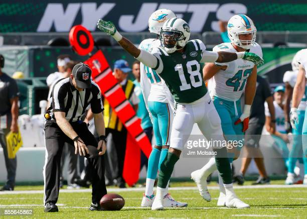 ArDarius Stewart of the New York Jets in action against the Miami Dolphins on September 24 2017 at MetLife Stadium in East Rutherford New Jersey The...