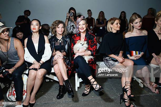 Arden Cho Camren Bicondova Kelly Osbourne her dog Polly Candace CameronBure and Skyler Samuels attend Milly Fashion Show during September 2016 New...