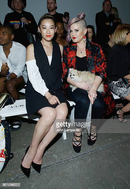 Arden Cho Kelly Osbourne and her dog Polly attend Milly Fashion Show during September 2016 New York Fashion Week at ArtBeam on September 9 2016 in...