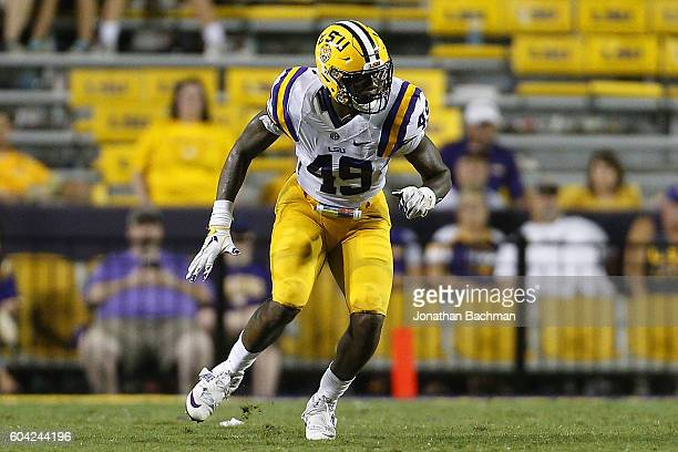 Arden Key of the LSU Tigers defends during a game at Tiger Stadium on September 10 2016 in Baton Rouge Louisiana