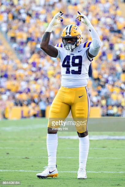 Arden Key of the LSU Tigers gets the crowd cheering during a game against the Auburn Tigers at Tiger Stadium on October 14 2017 in Baton Rouge...
