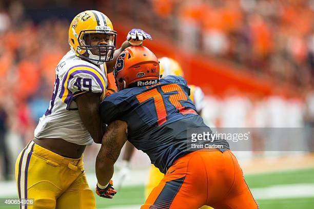 Arden Key of the LSU Tigers matches up again Ivan Foy of the Syracuse Orange during the second half on September 26 2015 at The Carrier Dome in...