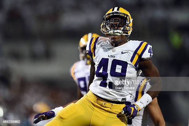 Arden Key of the LSU Tigers reacts to a sack during a game against the Mississippi State Bulldogs at Davis Wade Stadium on September 12 2015 in...