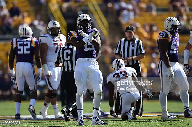 Arden Key of the LSU Tigers reacts to a stop against the South Carolina Gamecocks during a game at Tiger Stadium on October 10 2015 in Baton Rouge...