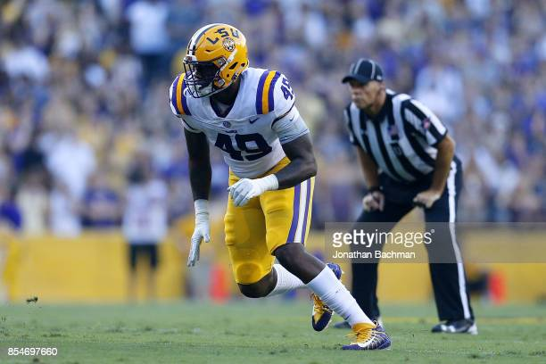 Arden Key of the LSU Tigers rushes during a game against the Syracuse Orange at Tiger Stadium on September 23 2017 in Baton Rouge Louisiana