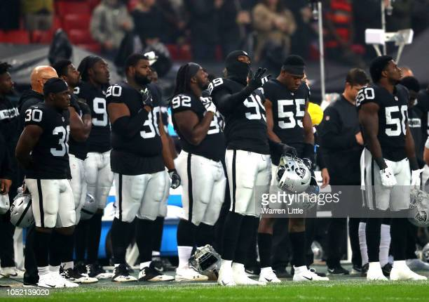 Arden Key of the Oakland Raiders sings his national anthem ahead of kick off uring the NFL International Series game between Seattle Seahawks and...