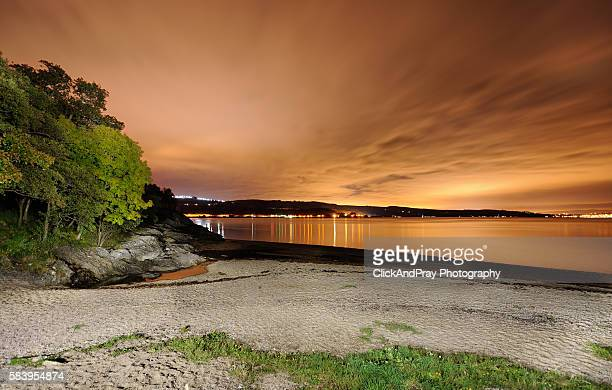 ardentinny beach at night - アーガイル模様 ストックフォトと画像