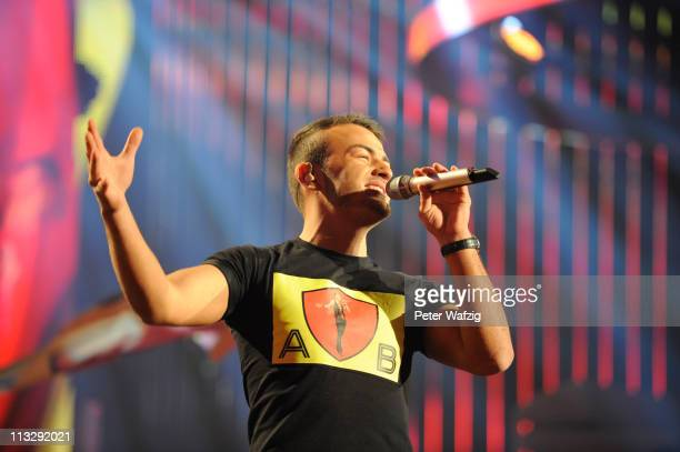 Ardian Bujupi performs his first song during the 'Deutschland Sucht Den Superstar' TV Show on April 30 2011 in Cologne Germany