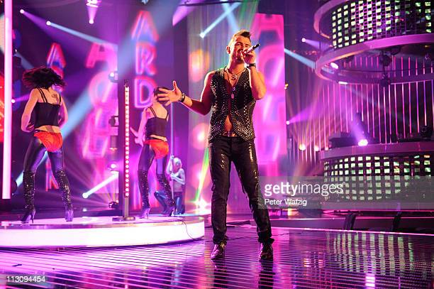 Ardian Bujupi performs his third song during the 'Deutschland Sucht Den Superstar' TV Show on April 23 2011 in Cologne Germany
