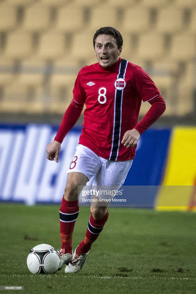 Ardian Gashi of Norway with the ball during the international friendly football match between Norway and Ukraine at Estadio Olimpico de Sevilla on February 6, 2013 in Seville, Spain.