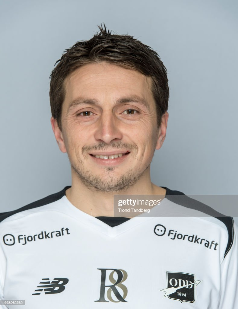 Ardian Gashi of Team Odd BK during Photocall on March 13, 2017 in Skien, Norway.