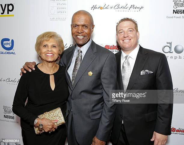 Ardie Bullard football player Gale Sayers and founder of the Harold Carole Pump Foundation Dana Pump attend the 14th Annual Harold Carole Pump...