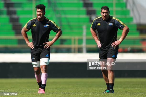 Ardie Savea and Ben May look on during a Hurricanes captain's run at Central Energy Trust Arena on February 28 2019 in Palmerston North New Zealand