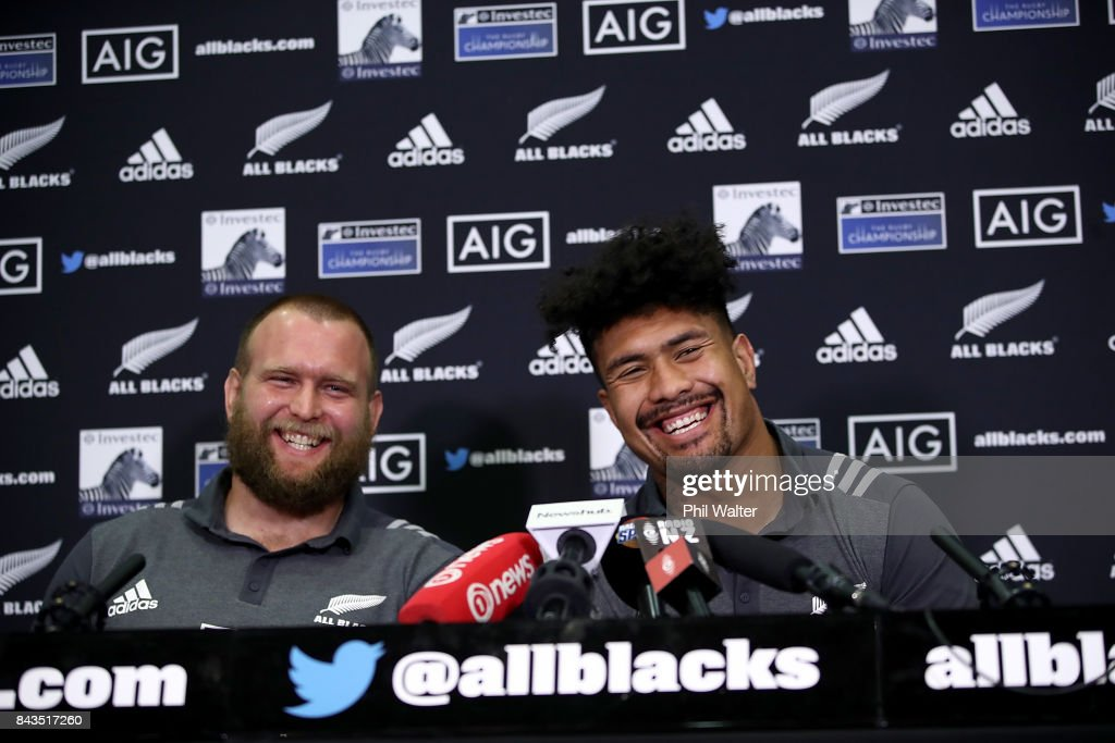 Ardie Savea (R) and Joe Moody (L) of the All Blacks speak to media ahead of a New Zealand All Blacks training session at Yarrow Stadium on September 7, 2017 in New Plymouth, New Zealand.