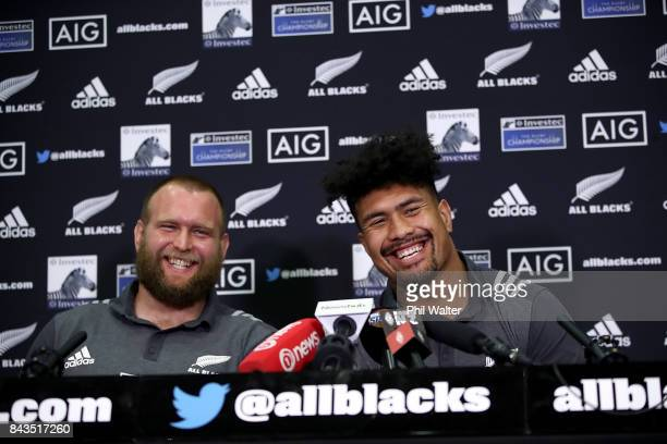 Ardie Savea and Joe Moody of the All Blacks speak to media ahead of a New Zealand All Blacks training session at Yarrow Stadium on September 7 2017...