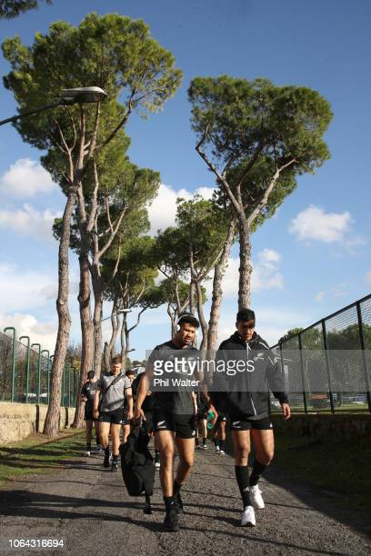 Ardie Savea and Rieko Ioane of the All Blacks arrive for a New Zealand All Black training session on November 22 2018 in Rome Italy