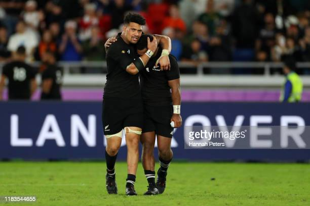 Ardie Savea and Sevu Reece of New Zealand look on in disappointment during the Rugby World Cup 2019 SemiFinal match between England and New Zealand...