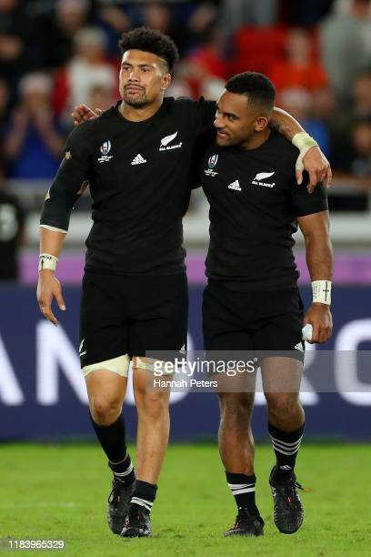 Ardie Savea and Sevu Reece of the All Blacks leave the field after losing the Rugby World Cup 2019 SemiFinal match between England and New Zealand at...